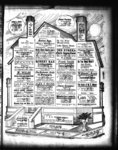 Full page of advertisements for local businesses displayed inside a sketch of a house