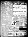 Advertisement for the Wilmette Theater, 1122 Central Avenue, opening tonight