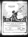 Full page advertisement for the State Bank of Evanston opening its remodeled and enlarged quarters