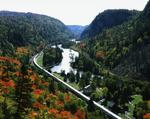 Ontario: Agawa Canyon - tour train at Canyon station at height of Fall colouring