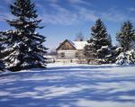 Ontario: Orangeville area - half-timbered house at Cataract in snowy setting