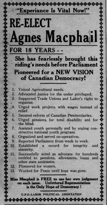 Campaign ad in the Flesherton Advance, 1940. Courtesy the Grey Highlands Public Library.