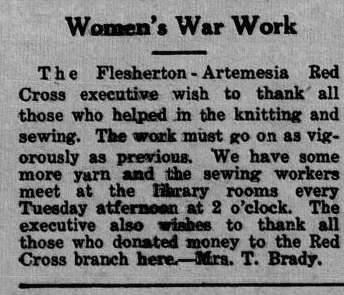 Notice in the Flesherton Advance, 1940. Courtesy the Grey Highlands Public Library.