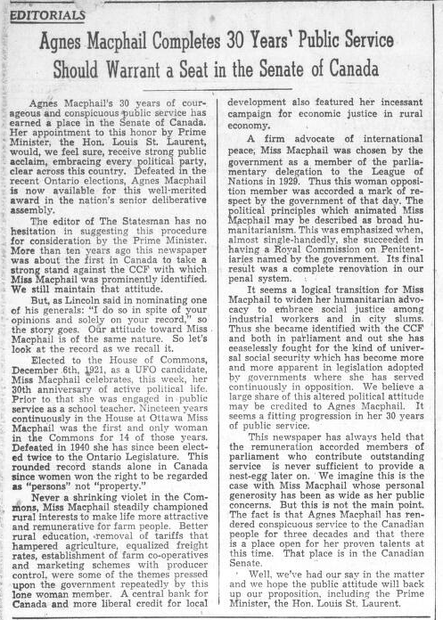 An editorial about Agnes Macphail's accomplishments, in the Durham Chronicle, 1929. Courtesy the West Grey Public Library.