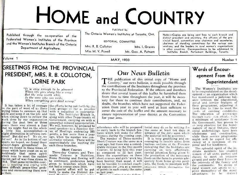 Volume 1, Issue 1 of Home & Country, 1933. Courtesy the Federated Women's Institutes of Ontario.