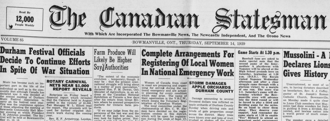 The Voluntary Registration of Canadian Women gets front-page coverage as the war is announced. Courtesy the Clarington Public Library.
