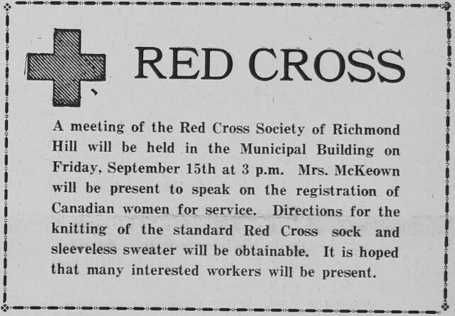 An ad in the September 14 1939 issue of The Liberal. Courtesy the Richmond Hill Public Library.