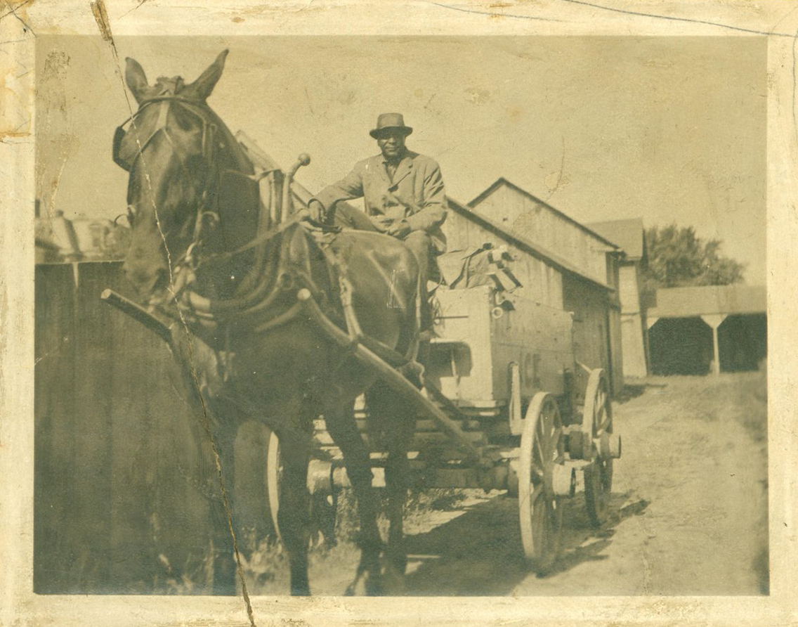 Charles Bell, with his horse and cart, who ran an ice and coal business in St Catharines. Courtesy the Brock University James A. Gibson Special Collections & Archives.