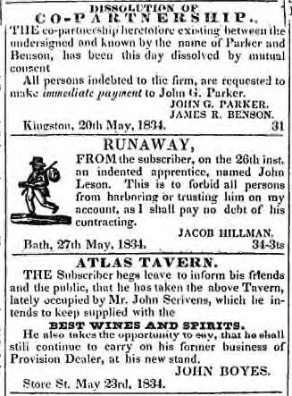 From the British Whig, Kingston, ON, July 1 1834. Courtesy the Kingston Frontenac Public Library.