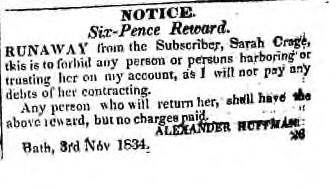 An ad for a female runaway slave, Sarah Crage, with a six-pence reward. The British Whig, December 16 1834. Courtesy the Kingston Frontenac Public Library.