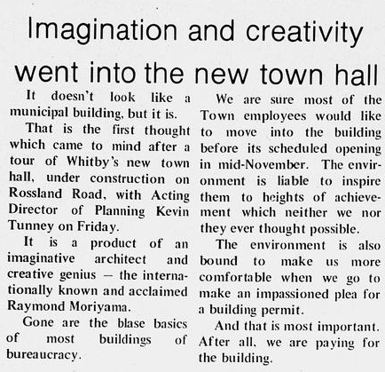 From the Whitby Free Press, 1976.