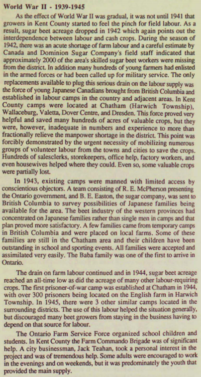 A short article written by a member of the Kent Historical society in 1986 describes white perspective on the labour done by internees. Courtesy the Chatham-Kent Public Library.
