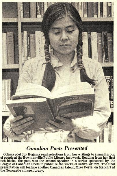 Joy Kogawa giving a reading at the Bowmanville Public Library in 1978. Courtesy the Clarington Public Library.